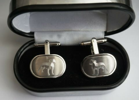 SILVER PLATED CUFF LINKS WITH STAFFIE SILHOUETTE & PERSONALIZED GIFT BOX